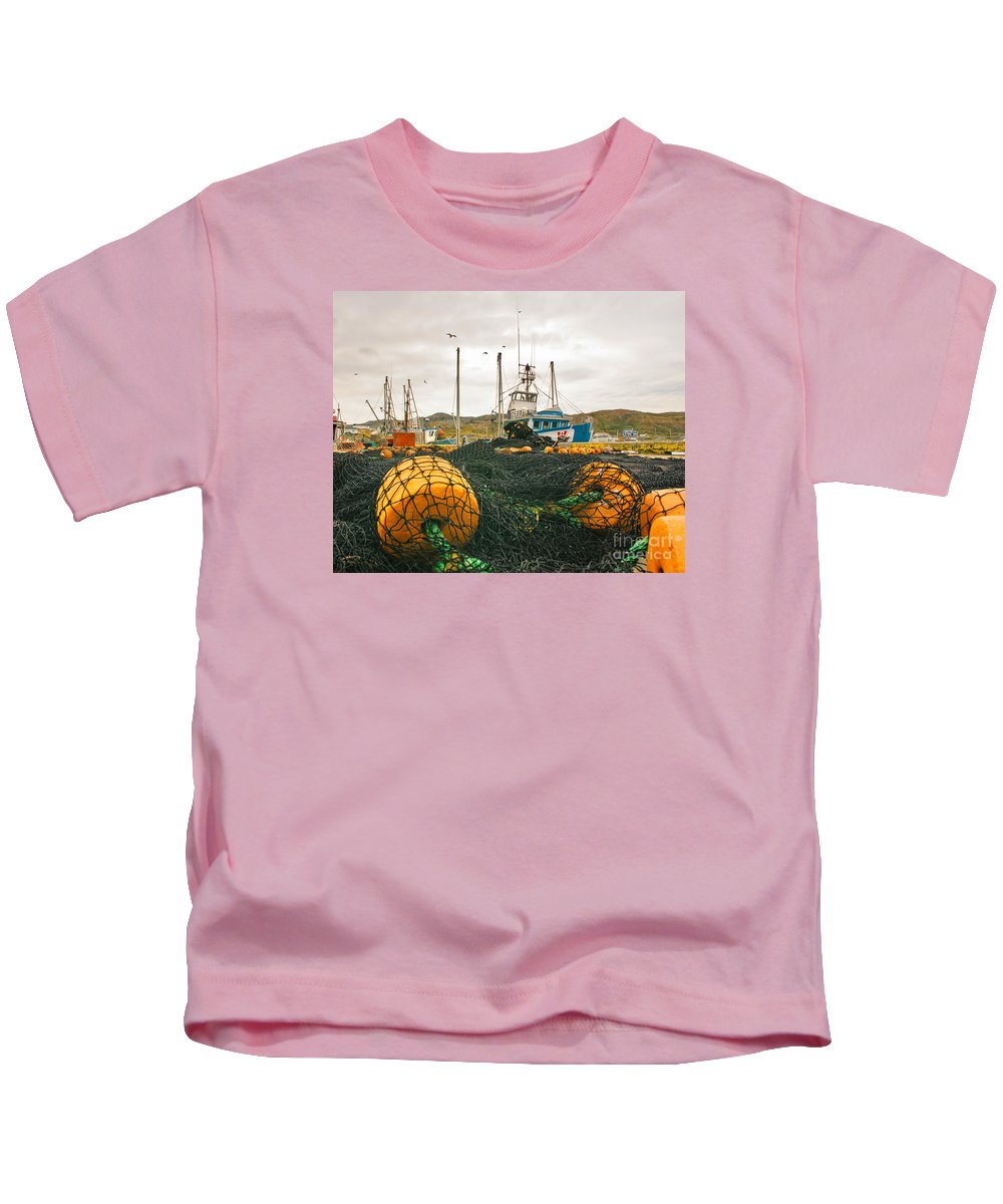 Boats Kids T-Shirt featuring the photograph Commercial Fishing In The North Atlantic by Timothy Flanigan