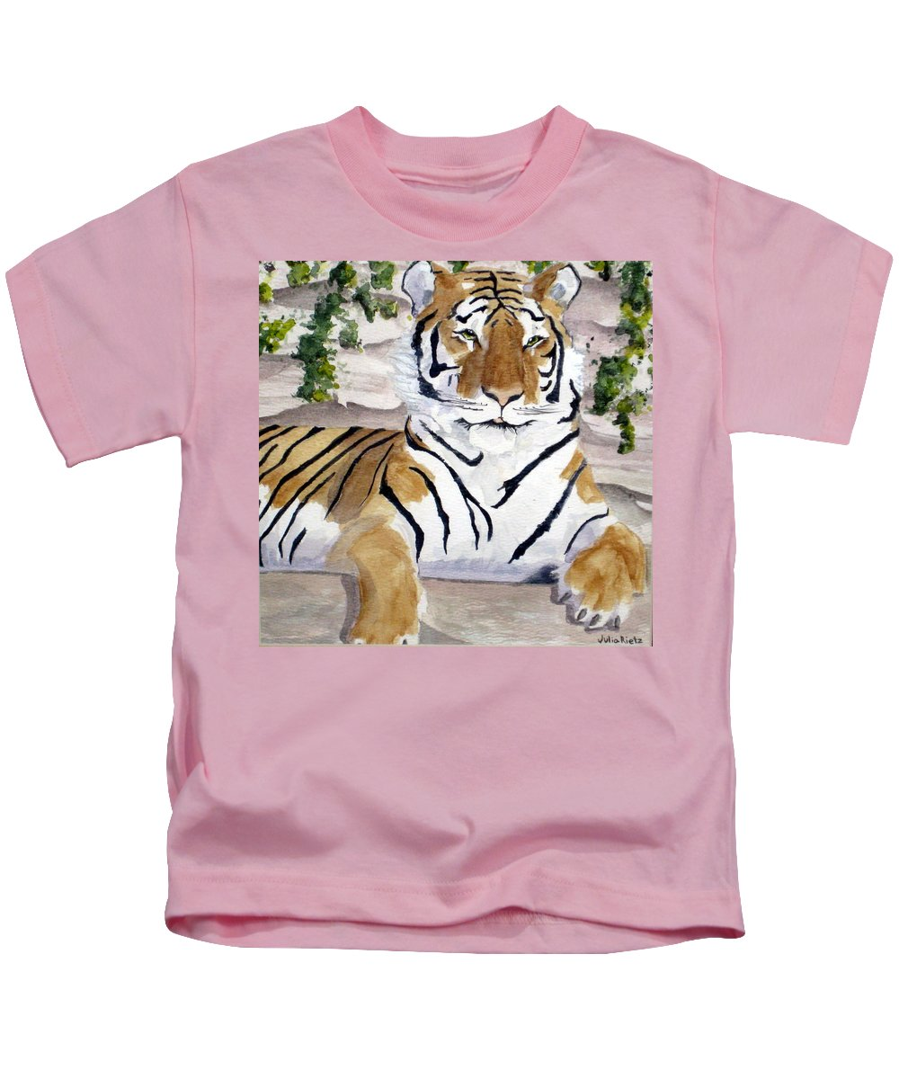 Tiger Kids T-Shirt featuring the painting Contemplating Dinner by Julia RIETZ