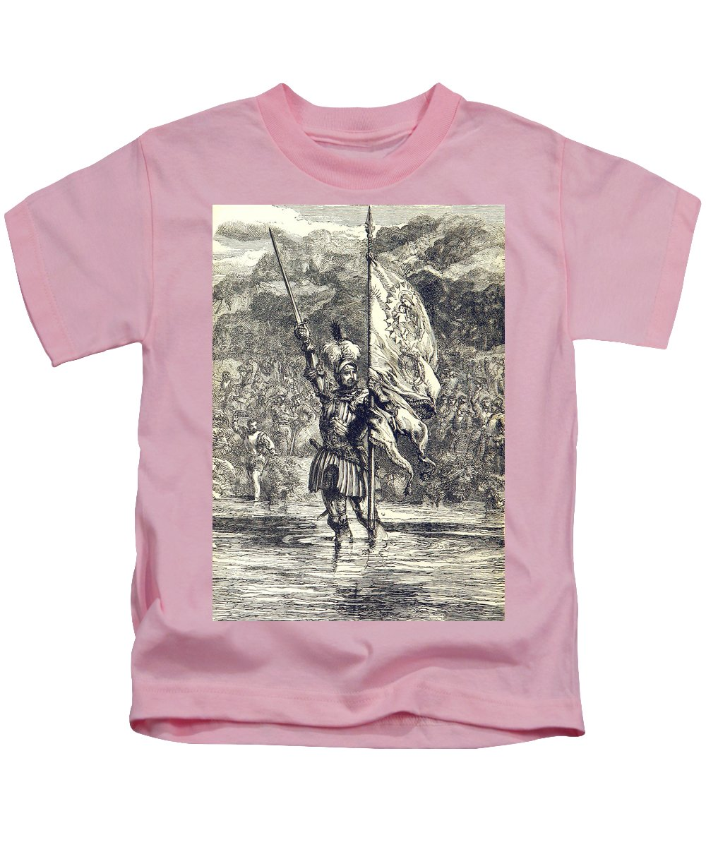 History Kids T-Shirt featuring the photograph Cortez Claiming Mexico For Spain, 1519 by British Library