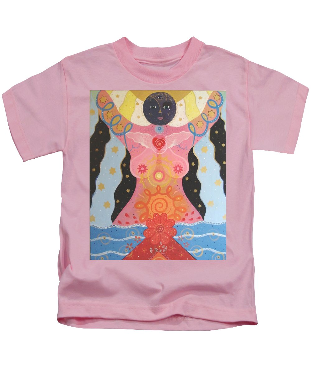 Goddess Kids T-Shirt featuring the painting Cosmic Carnival I V Aka Creation by Helena Tiainen