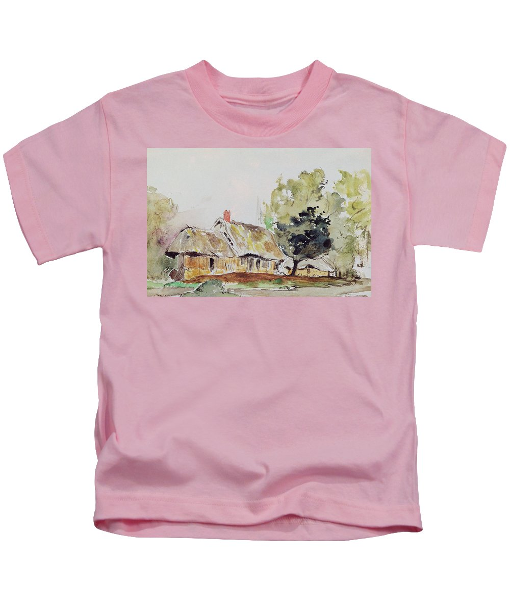 Delacroix Kids T-Shirt featuring the painting Cottage Under Large Trees In Summer by Ferdinand Victor Eugene Delacroix