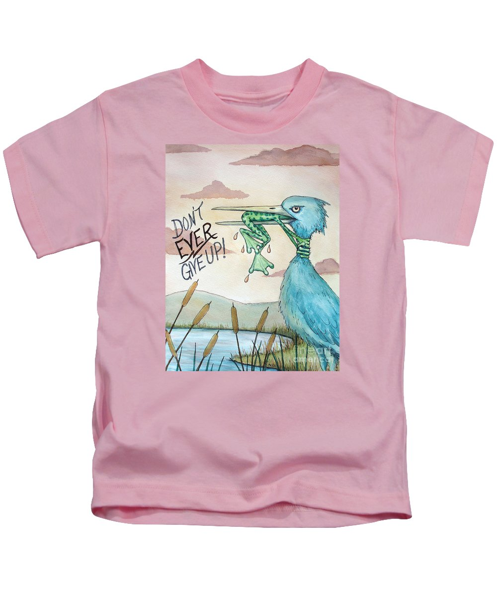 Dont Ever Give Up Kids T-Shirt featuring the painting Do Not Ever Give Up by Joey Nash