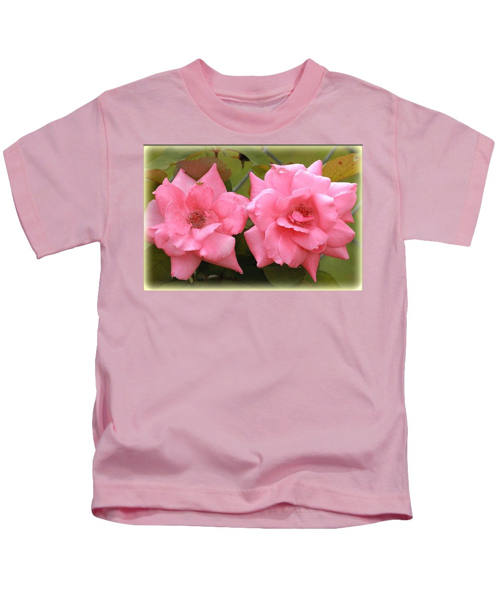 Pink Kids T-Shirt featuring the photograph Double Take by Karen Beasley