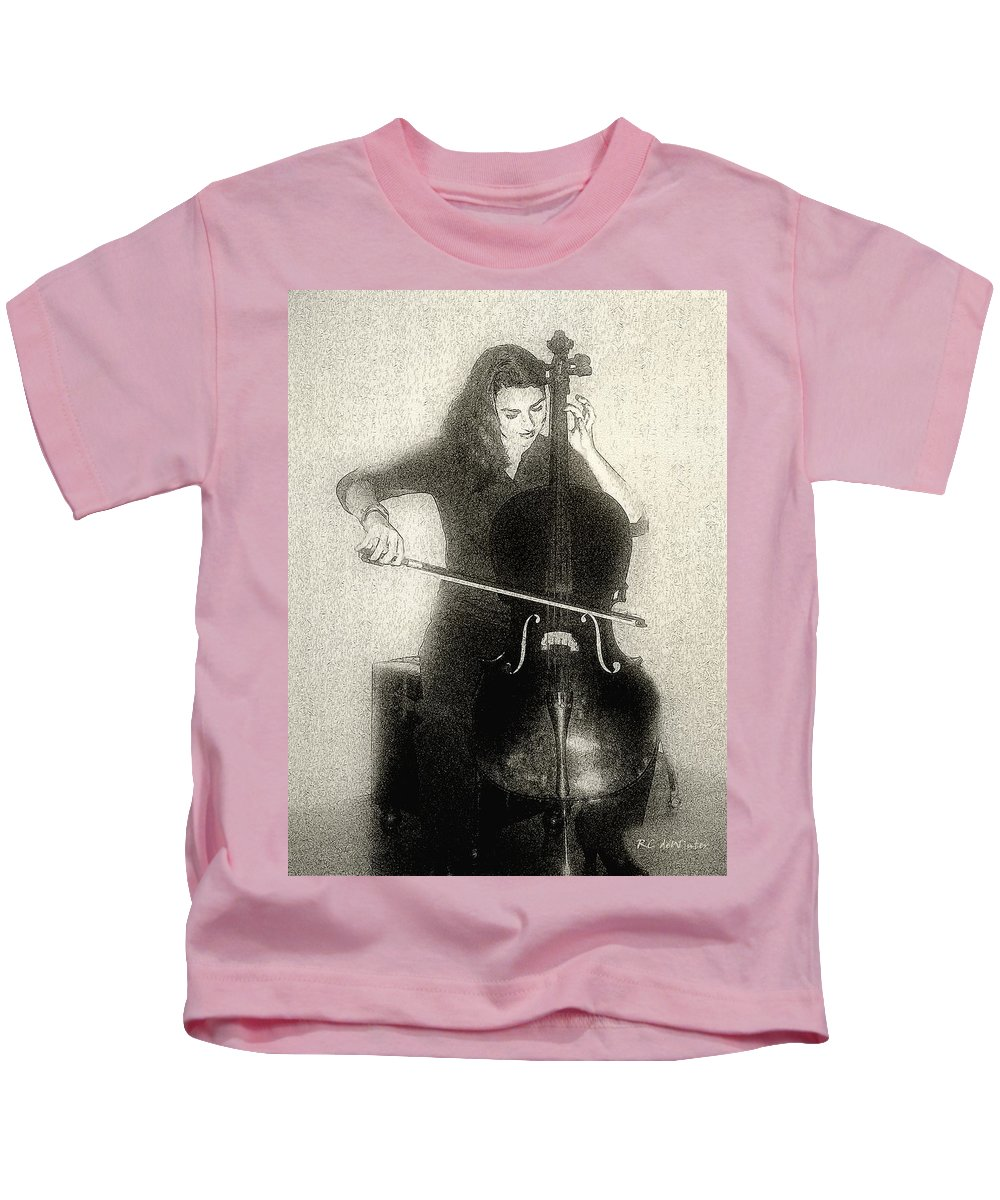 Cello Kids T-Shirt featuring the digital art Drawing The Bow by RC DeWinter