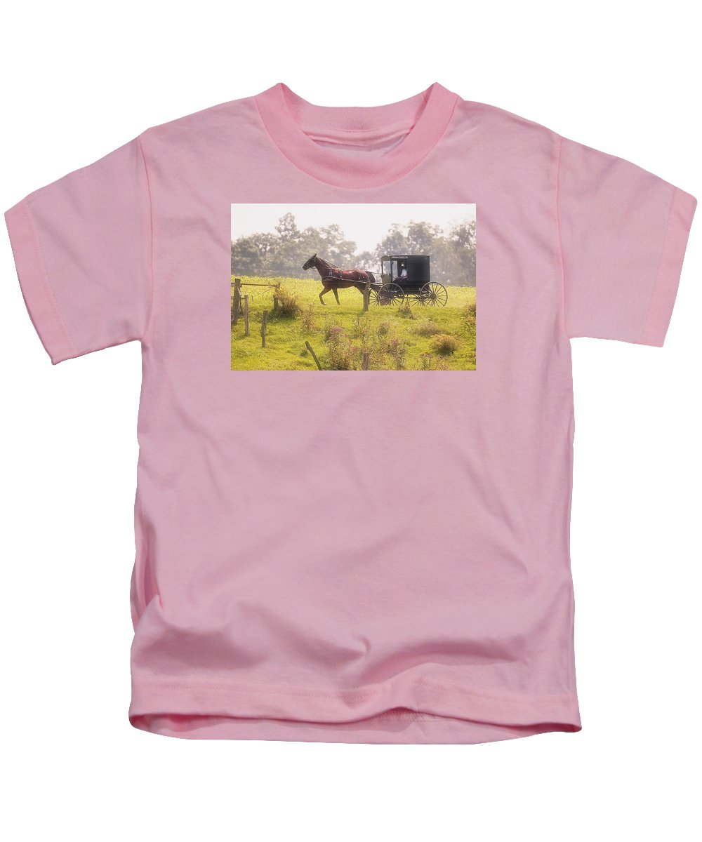 Transportation Kids T-Shirt featuring the photograph Dreamy Morning by Marcia Colelli