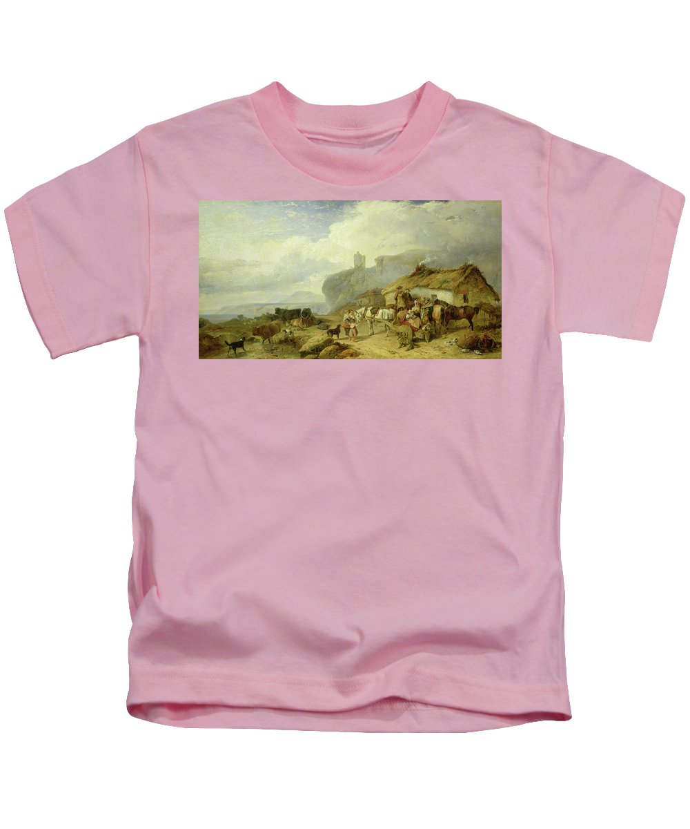 Scottish Village Kids T-Shirt featuring the painting Drovers Halt, Island Of Mull by Richard Ansdell