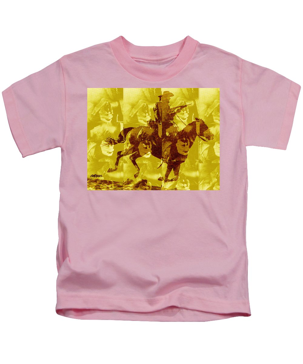 Clint Eastwood Kids T-Shirt featuring the digital art Duel In The Saddle 1 by Seth Weaver