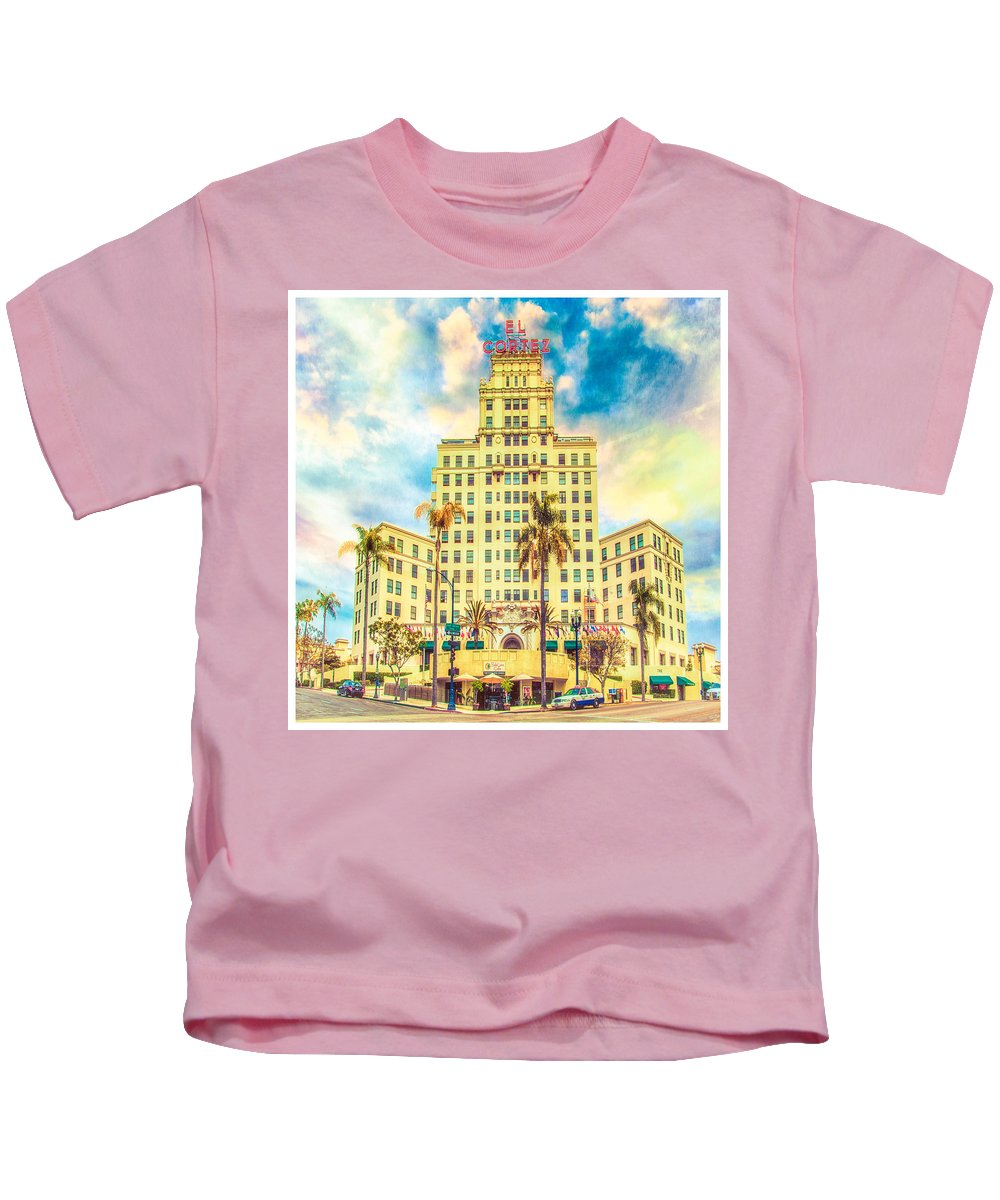 Hotel Kids T-Shirt featuring the photograph El Cortez by Chris Lord