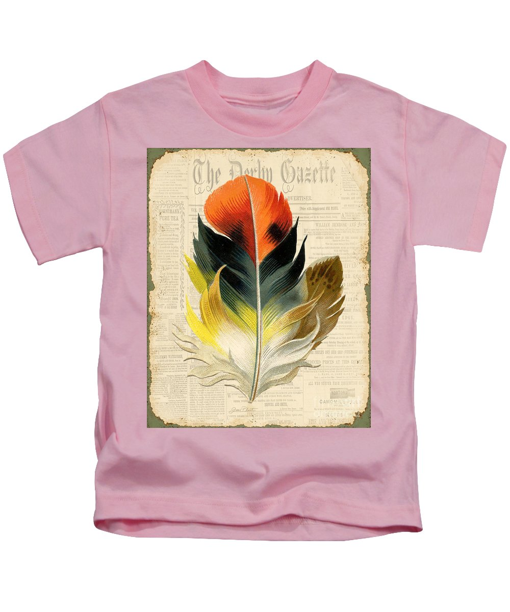 Digital Art Kids T-Shirt featuring the digital art Elegant Feather-c by Jean Plout