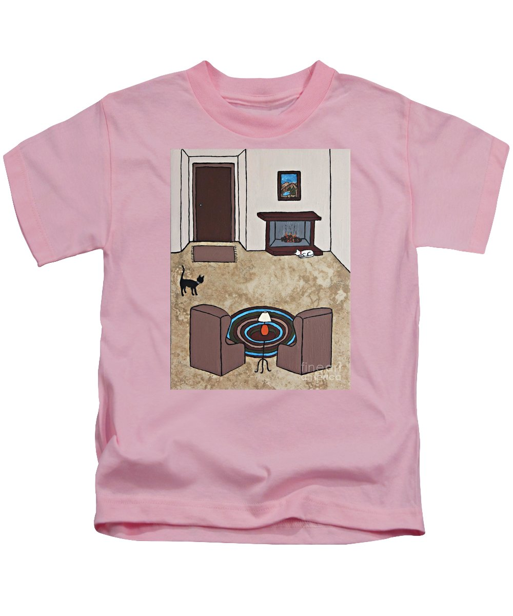 Folk Art Kids T-Shirt featuring the painting Essence Of Home - Cat By Fireplace by Sheryl Young