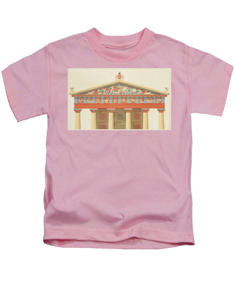 Relief Sculpture Kids T-Shirt featuring the drawing Facade Of The Temple Of Jupiter by Daumont