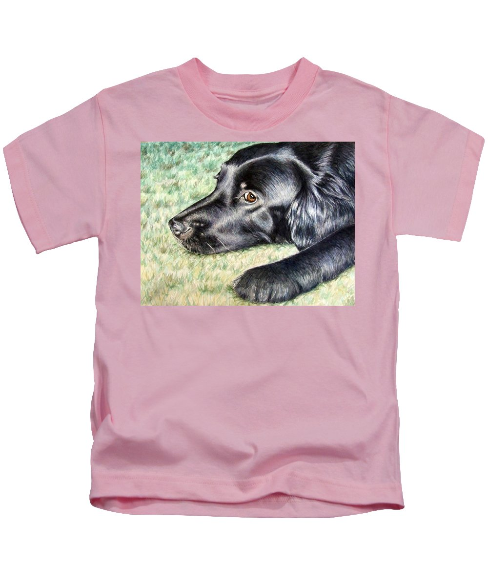 Dog Kids T-Shirt featuring the painting Flat Coated Retriever by Nicole Zeug