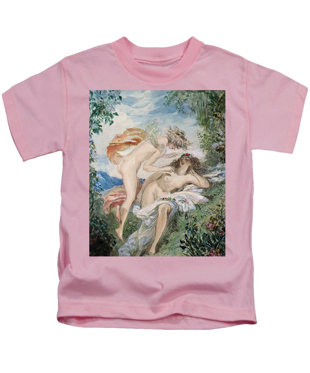Flora And Zephyr Kids T-Shirt featuring the painting Flora And Zephyr by Alfred-Edward Chalon