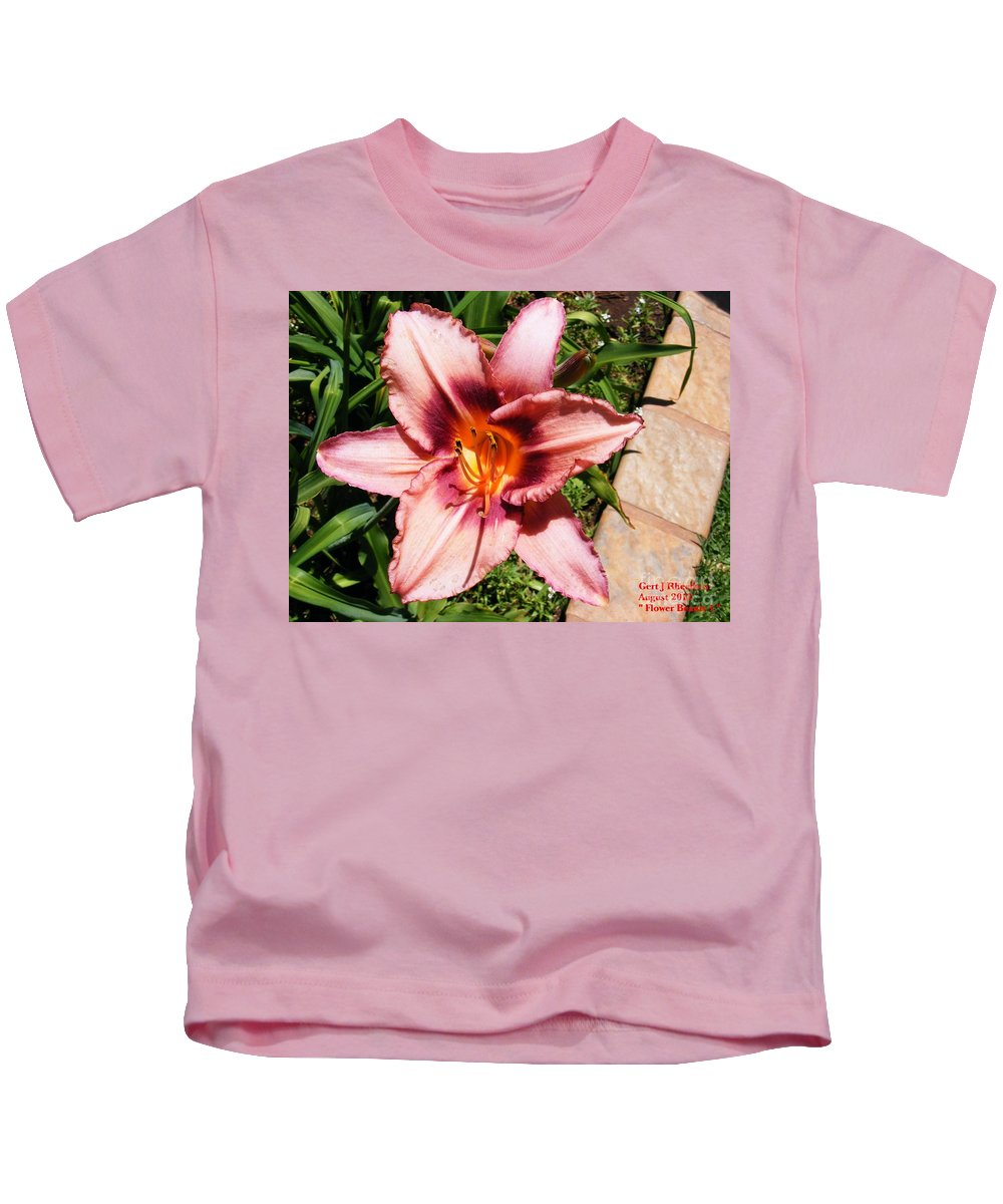 Nature Kids T-Shirt featuring the painting Flower Beauty 1 by Gert J Rheeders