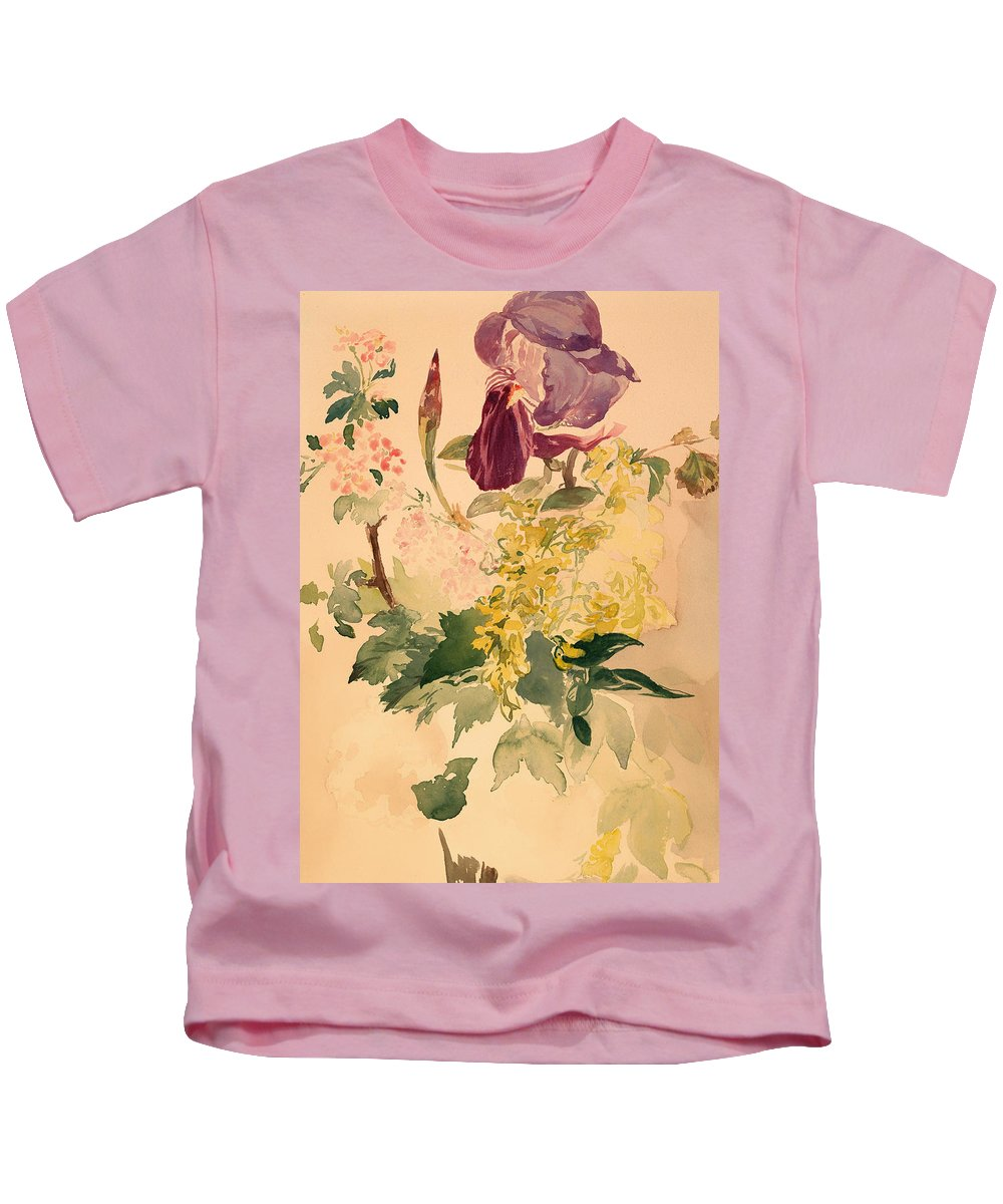 Painting Kids T-Shirt featuring the painting Flower Piece With Iris Laburnum And Geranium by Mountain Dreams