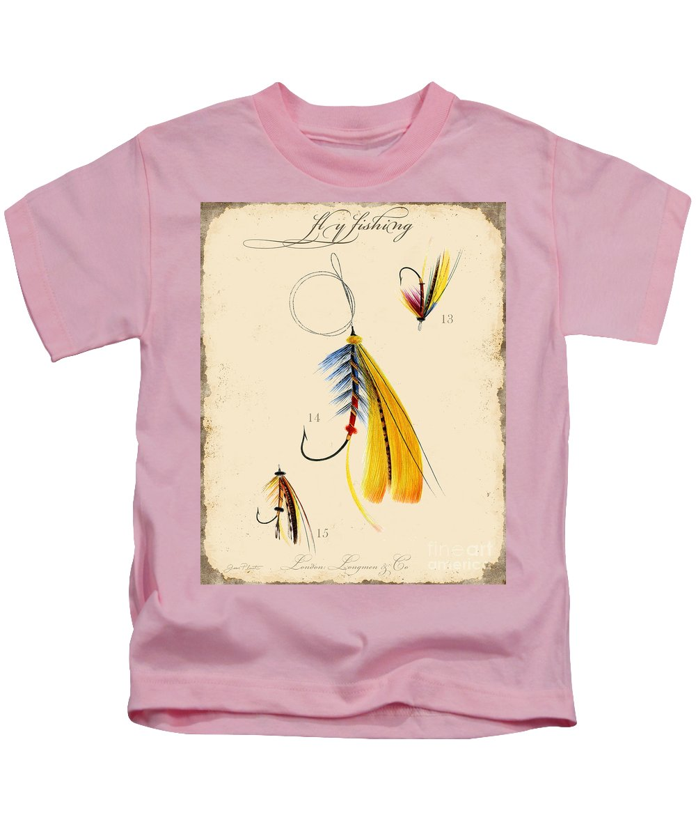 Casting Flies Kids T-Shirt featuring the digital art Fly Fishing-jp2098 by Jean Plout