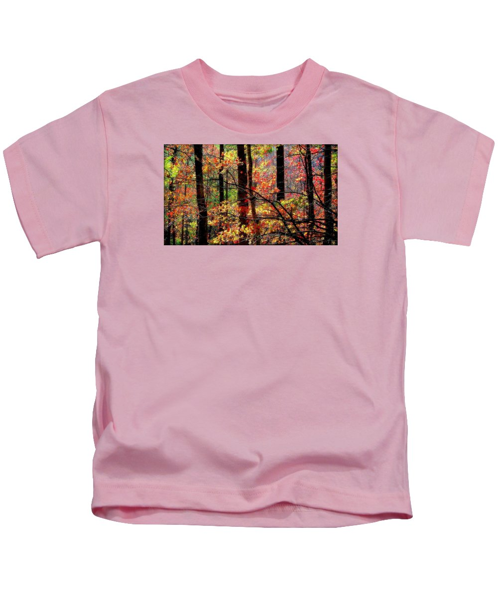 Autumn Reflections Kids T-Shirt featuring the photograph Color The Forest by Karen Wiles