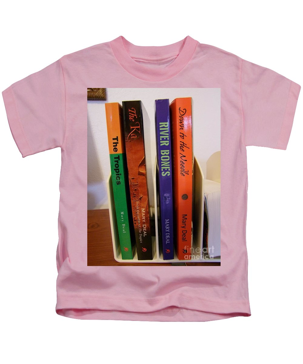 Books Kids T-Shirt featuring the photograph Four Of My Ten Books Published by Mary Deal