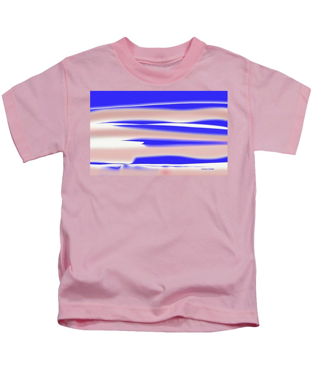 Expressive Kids T-Shirt featuring the painting Four Streaks Across The Sky by Lenore Senior