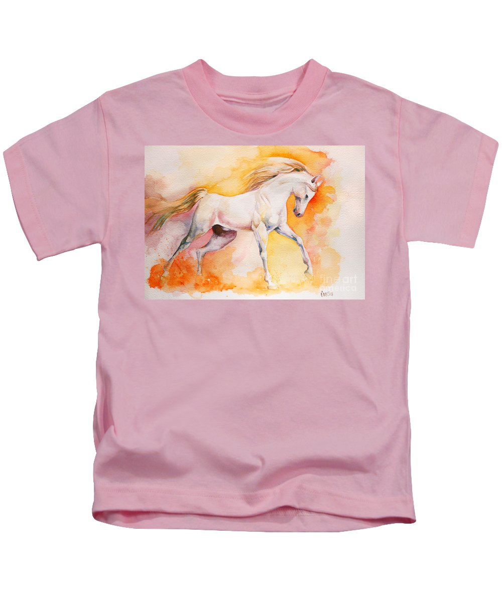 Horse Kids T-Shirt featuring the painting Freedom by Tamer and Cindy Elsharouni