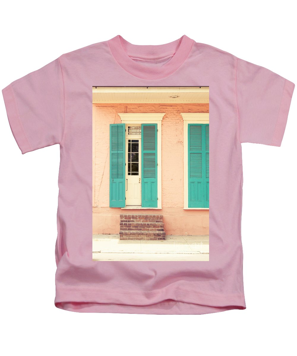 Aqua Kids T-Shirt featuring the photograph French Quarter Pastel Colours by Mary Smyth