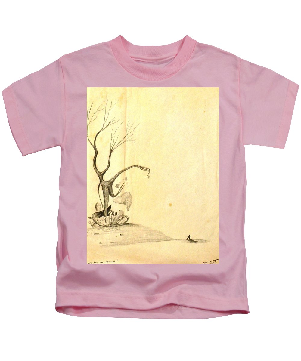 Surrealism Kids T-Shirt featuring the drawing From The Beginning by Michael Anthony Edwards