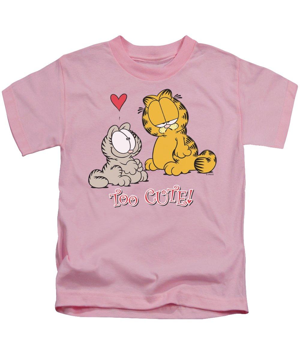 Kids T-Shirt featuring the digital art Garfield - Too Cute by Brand A