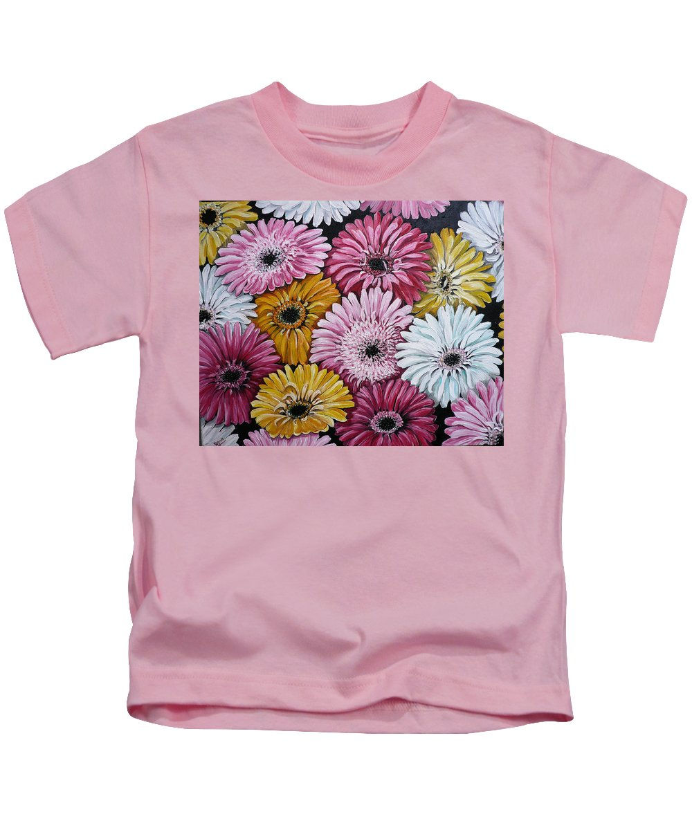 Flower Paintings Daisy Paintings Floral Paintings Blooms Color .gerbera Daisy Paintings Greeting Card Painting S Canvas Painting Poster Print Paintings Kids T-Shirt featuring the painting Gebera Daisies by Karin Dawn Kelshall- Best