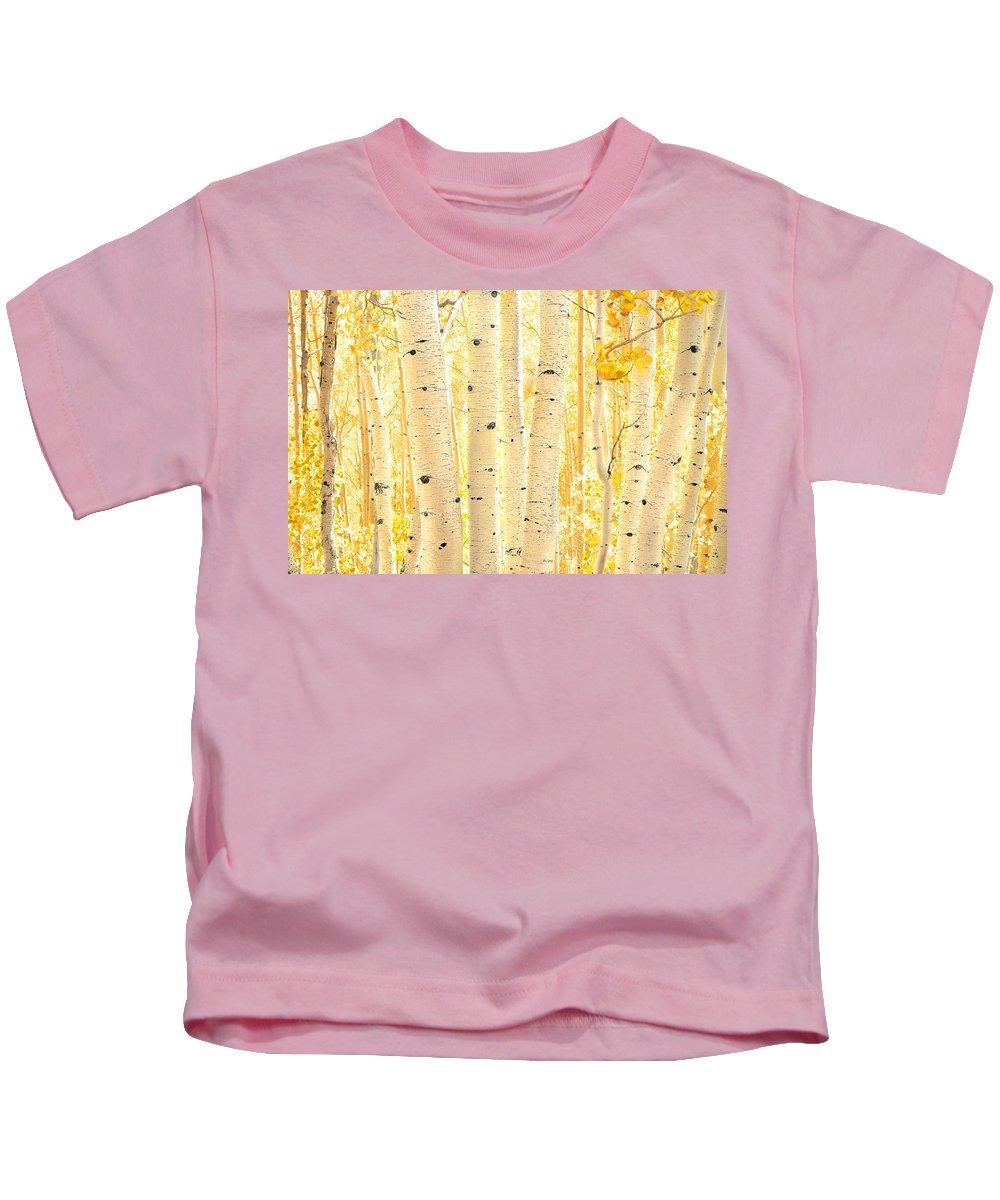 Aspens Kids T-Shirt featuring the photograph Golden Aspens Utah by Rich Franco