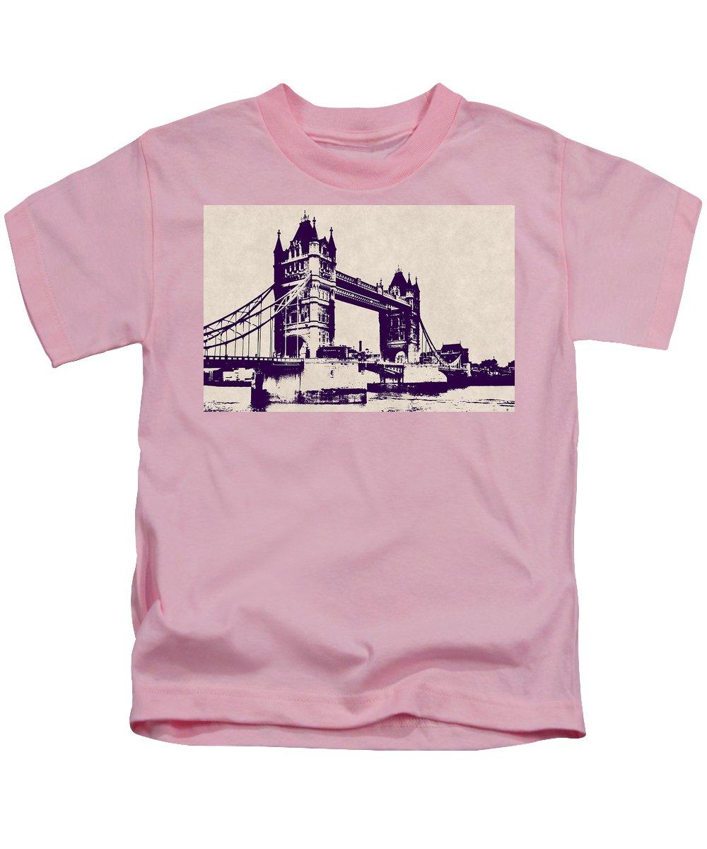 tower Bridge Kids T-Shirt featuring the digital art Gothic Victorian Tower Bridge - London by Daniel Hagerman