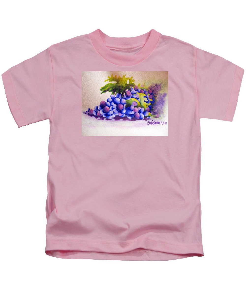 Fine Art Painting Kids T-Shirt featuring the painting Grapes by Chrisann Ellis