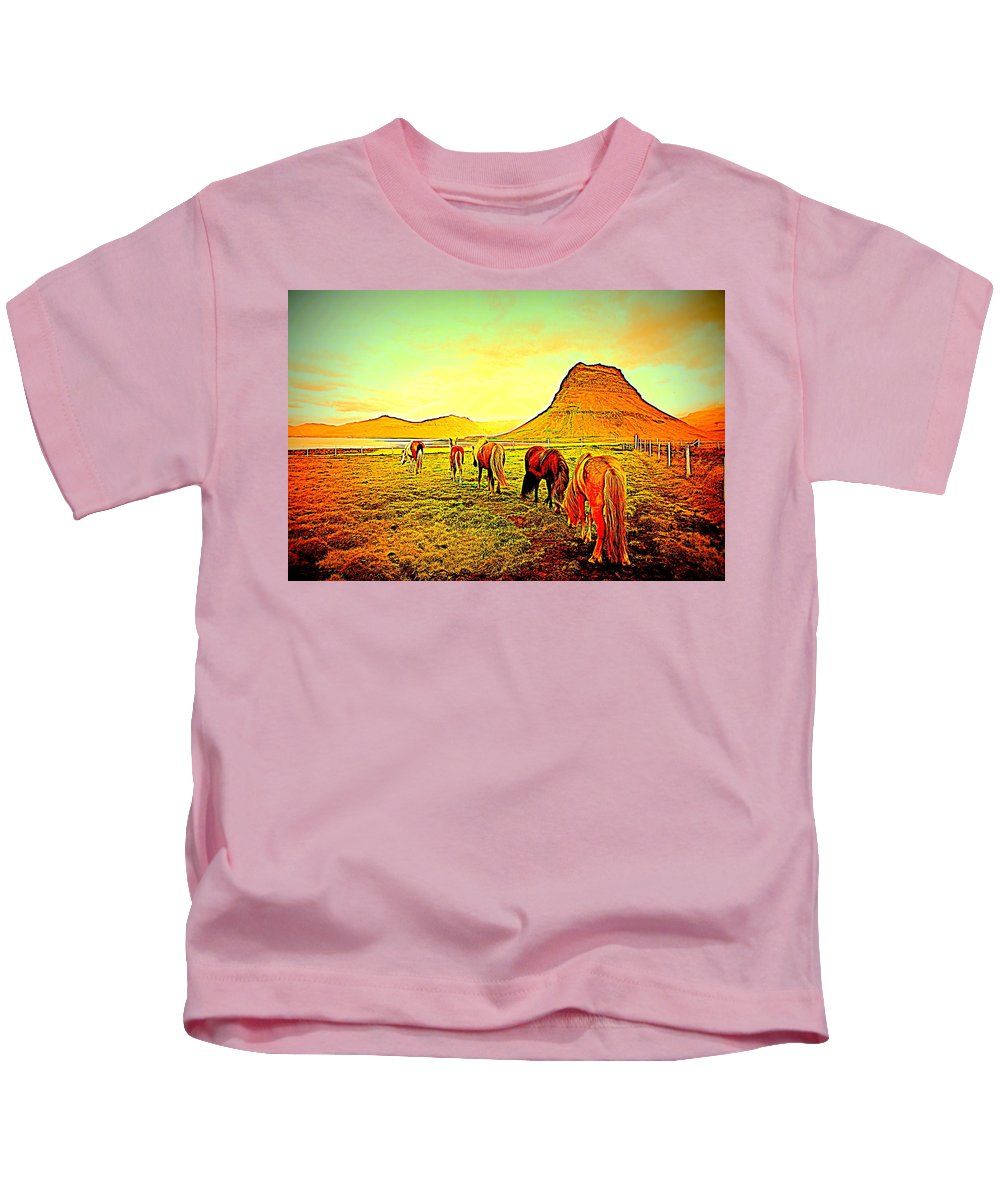 Iceland Kids T-Shirt featuring the photograph Happy To Be Grazing Again by Hilde Widerberg