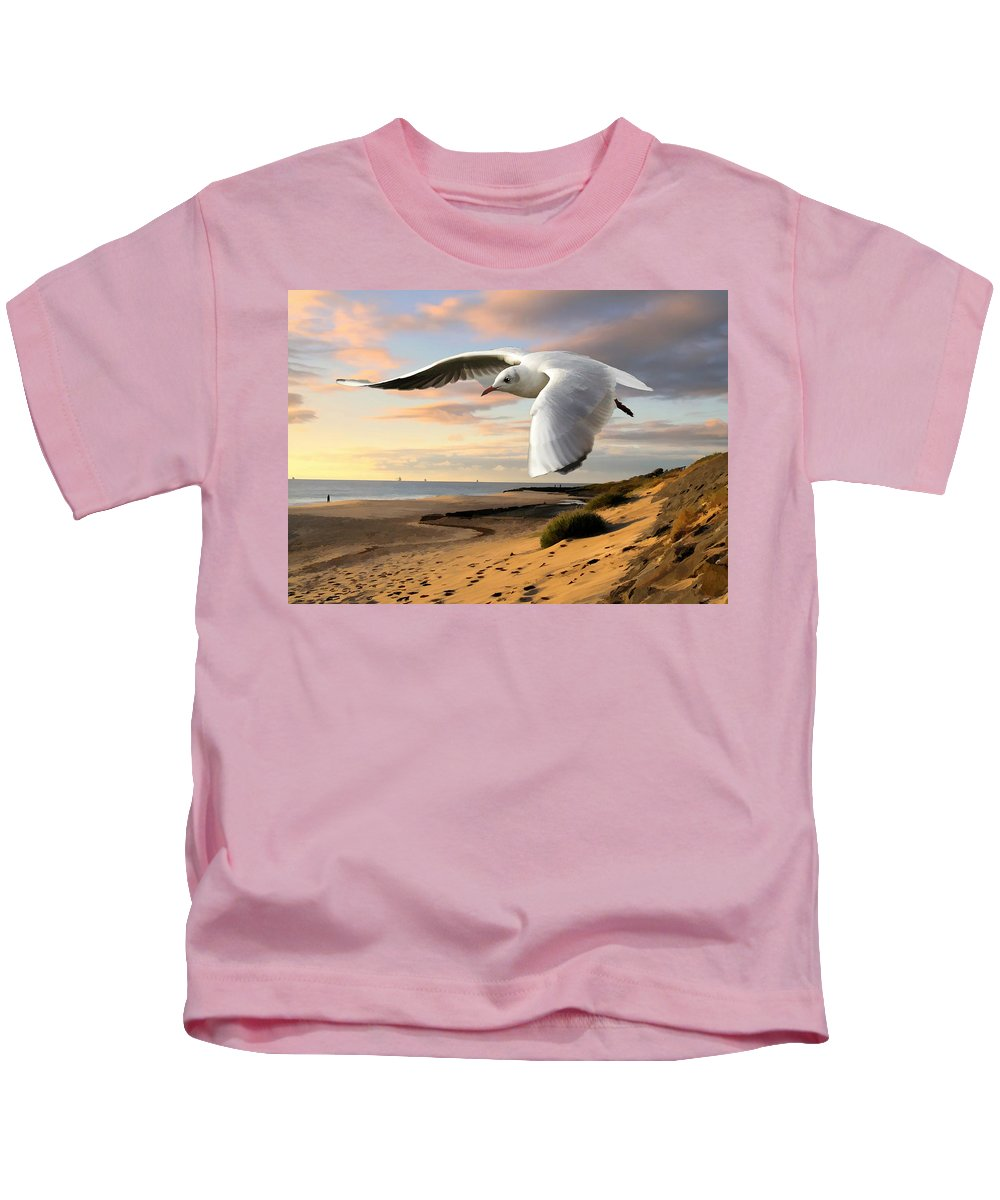 Sea Gull Kids T-Shirt featuring the painting Gull On The Wing Over Beach Landscape by Elaine Plesser