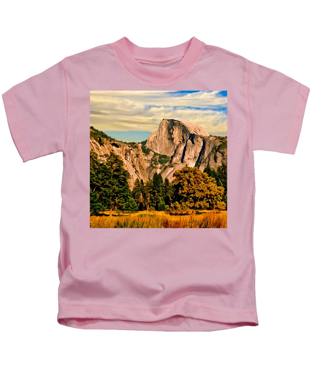Bob Johnston Kids T-Shirt featuring the painting Half Dome Painting by Bob and Nadine Johnston
