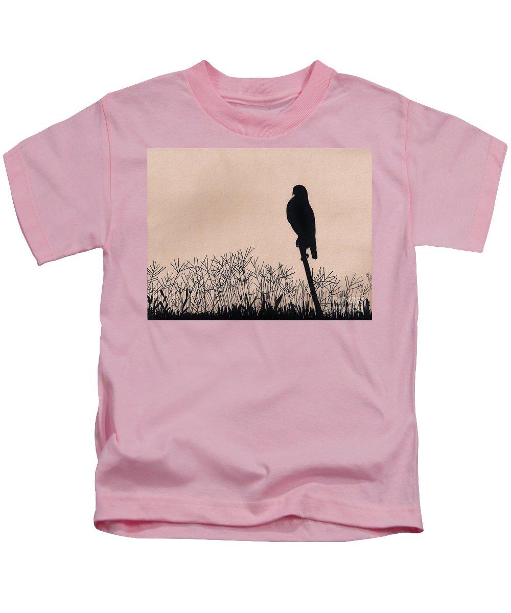 Hawk Kids T-Shirt featuring the drawing Hawk Silhouette Sunrise by D Hackett