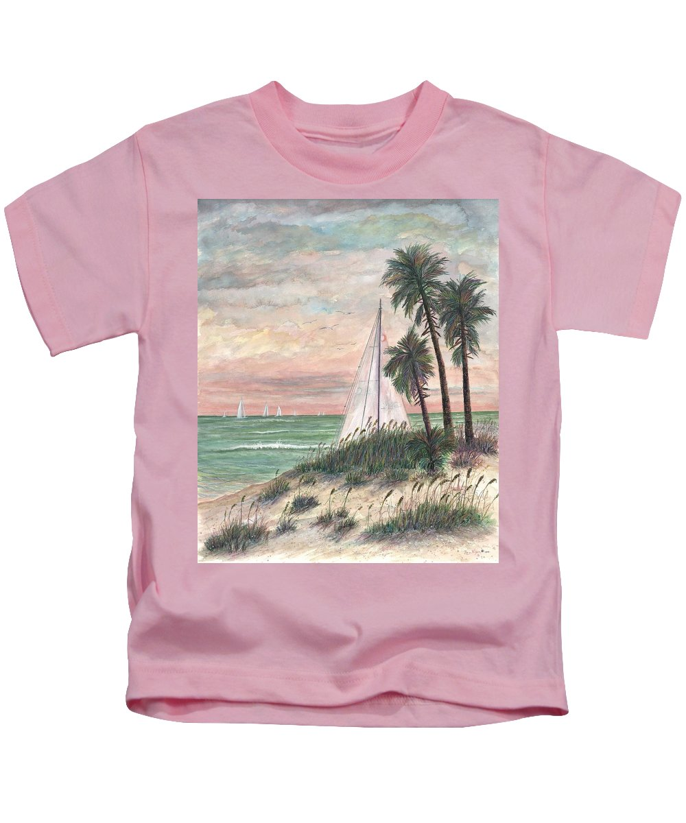 Sailboats; Palm Trees; Ocean; Beach; Sunset Kids T-Shirt featuring the painting Hideaway by Ben Kiger