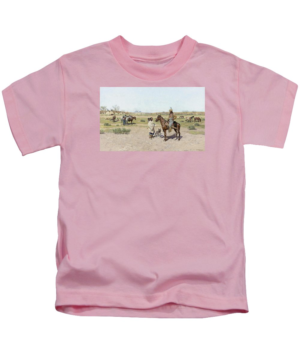 Henry Farny Kids T-Shirt featuring the painting His Favorite Wife by Henry Farny