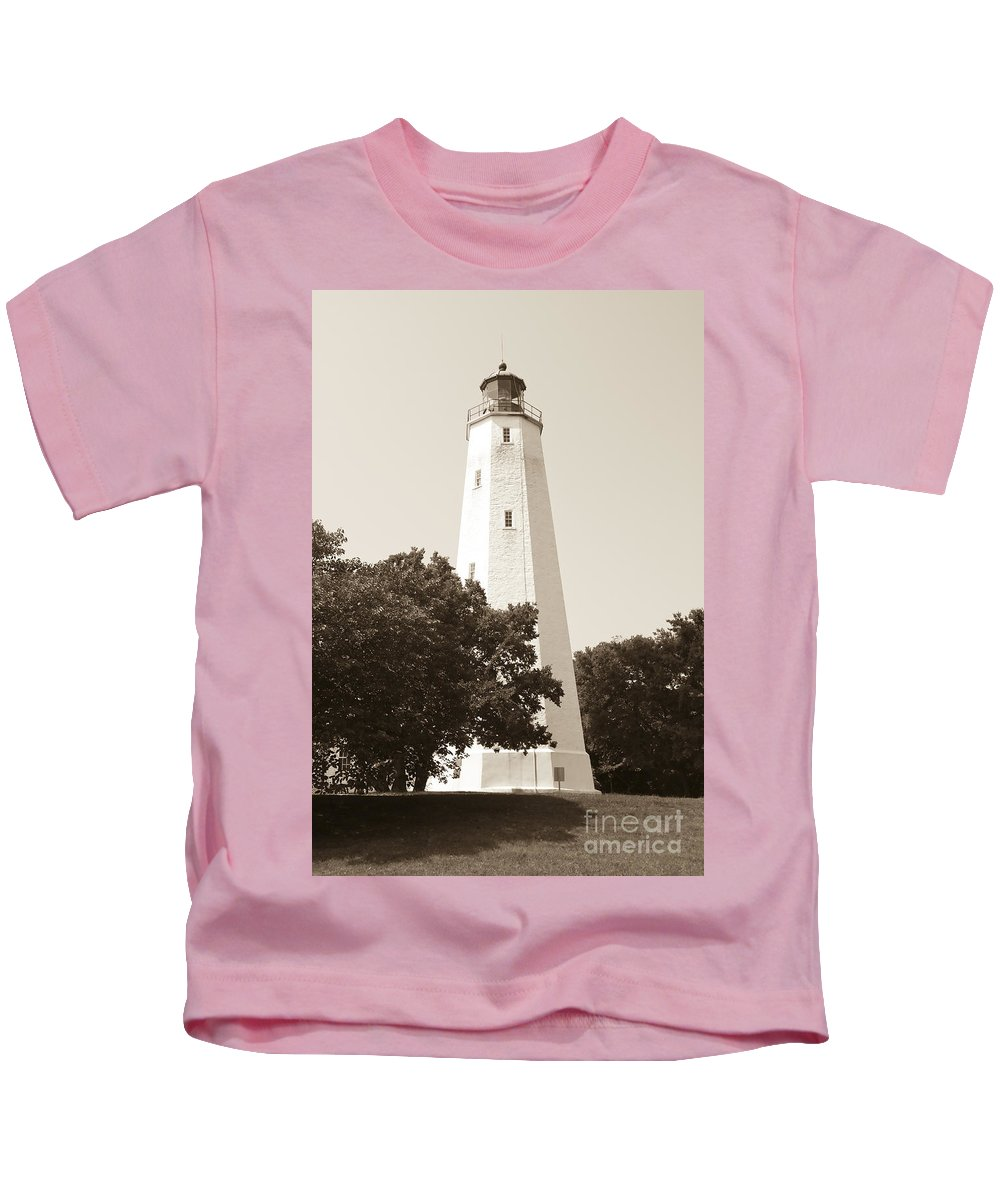 Lighthouses Kids T-Shirt featuring the photograph Historic Sandy Hook Lighthouse by Anthony Sacco