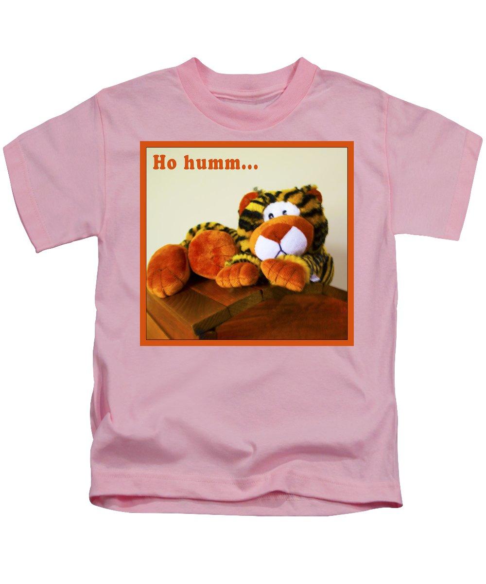 Barbara Snyder Kids T-Shirt featuring the digital art Ho Hummm Tiger by Barbara Snyder