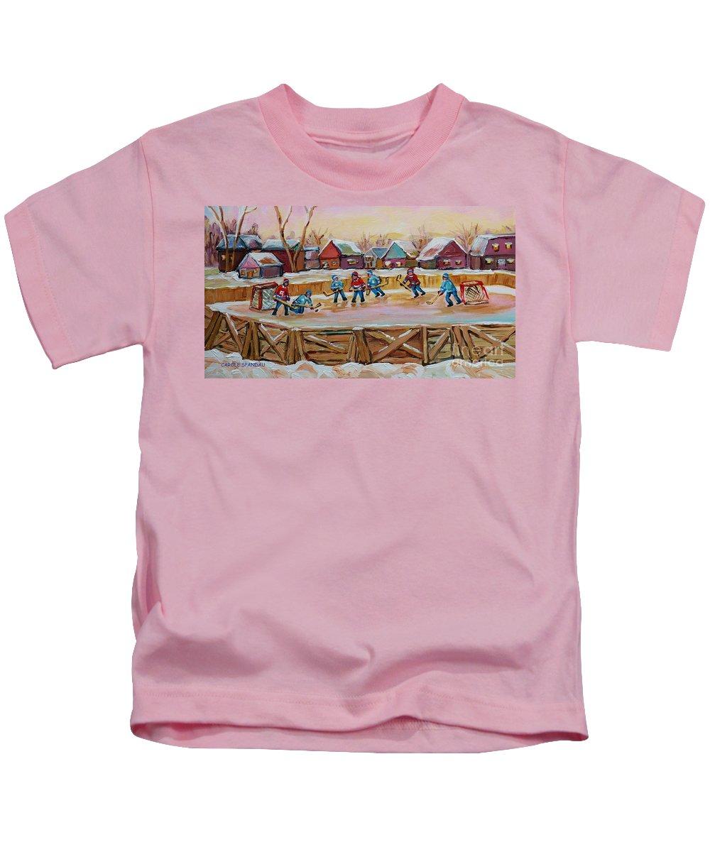 Country Hockey Rink Kids T-Shirt featuring the painting Hockey Game-outdoor Hockey -beautiful Canadian Winter Landscape-hockey Heroes-carole Spandau by Carole Spandau