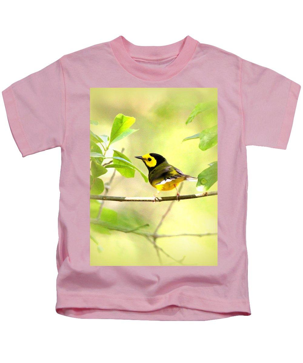 Bird Kids T-Shirt featuring the photograph Hooded Warbler - Img_9274-009 by Travis Truelove