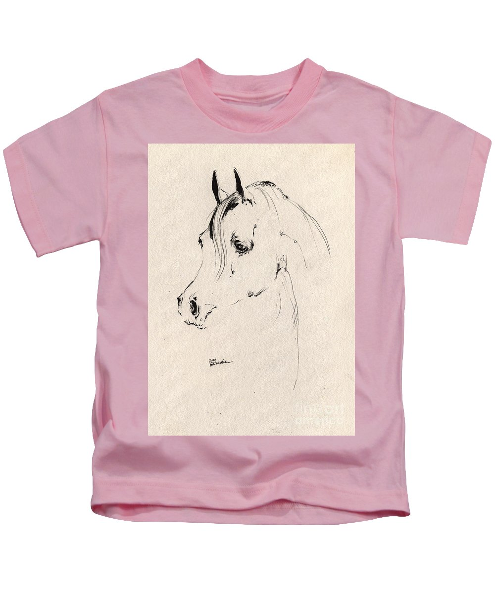 Horse Kids T-Shirt featuring the drawing Horse Head Sketch by Angel Ciesniarska