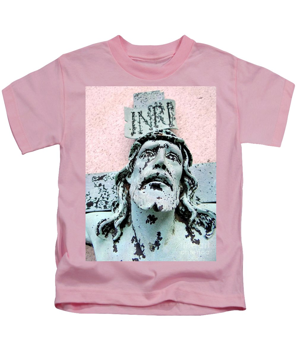 The Crucifixion Kids T-Shirt featuring the photograph I N R E by Ed Weidman