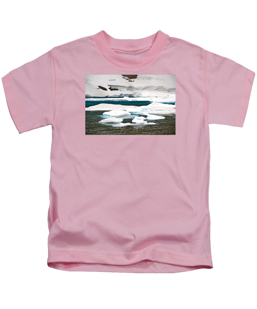 Nature Kids T-Shirt featuring the photograph Icebergs In August Glacier International Peace Park by Ed Riche
