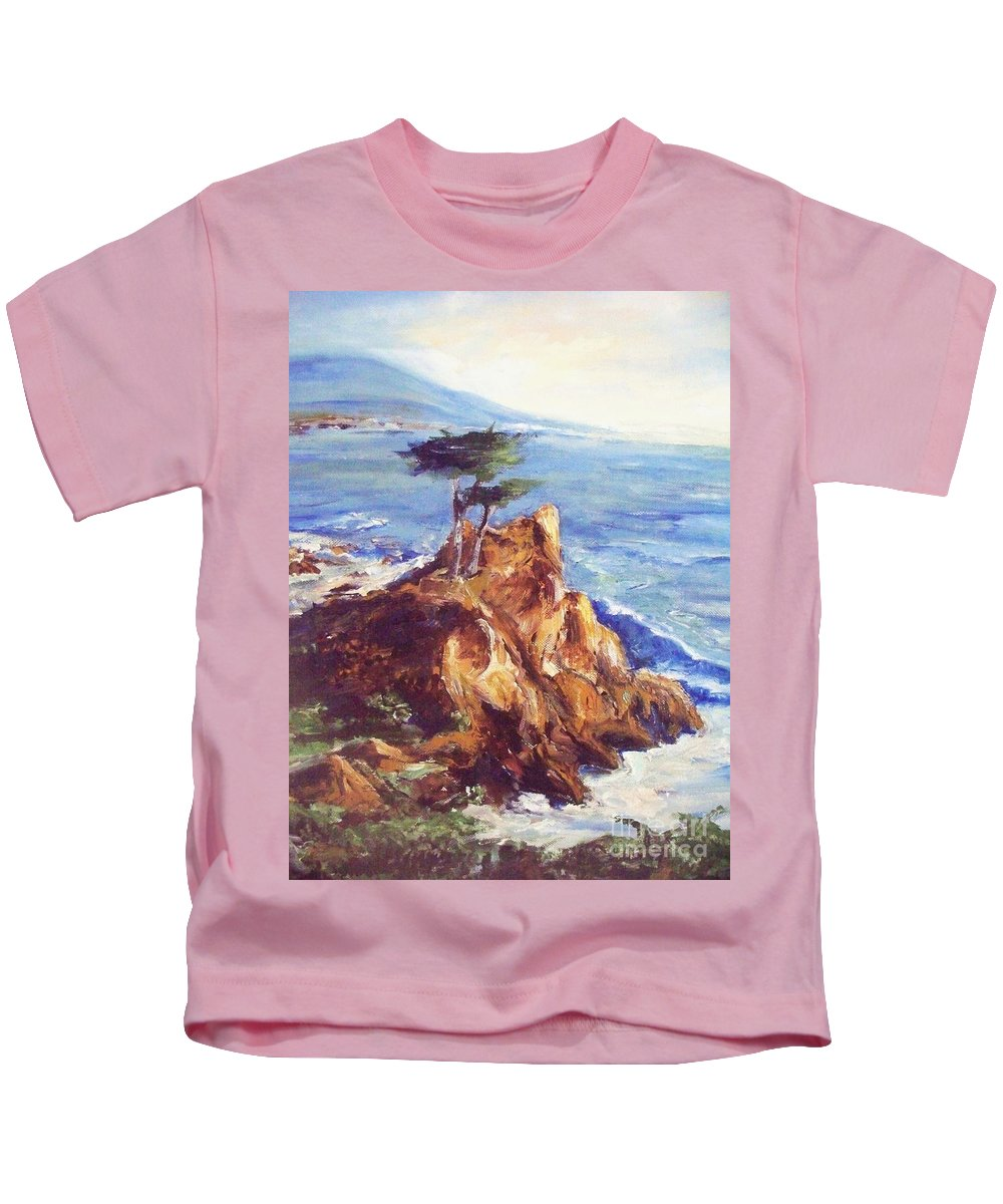 Seascape Kids T-Shirt featuring the painting Imaginary Cypress by Eric Schiabor