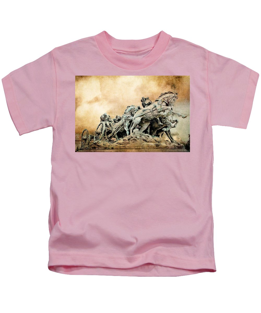 Confederate War Statue Kids T-Shirt featuring the photograph Into The Air Charging by Alice Gipson