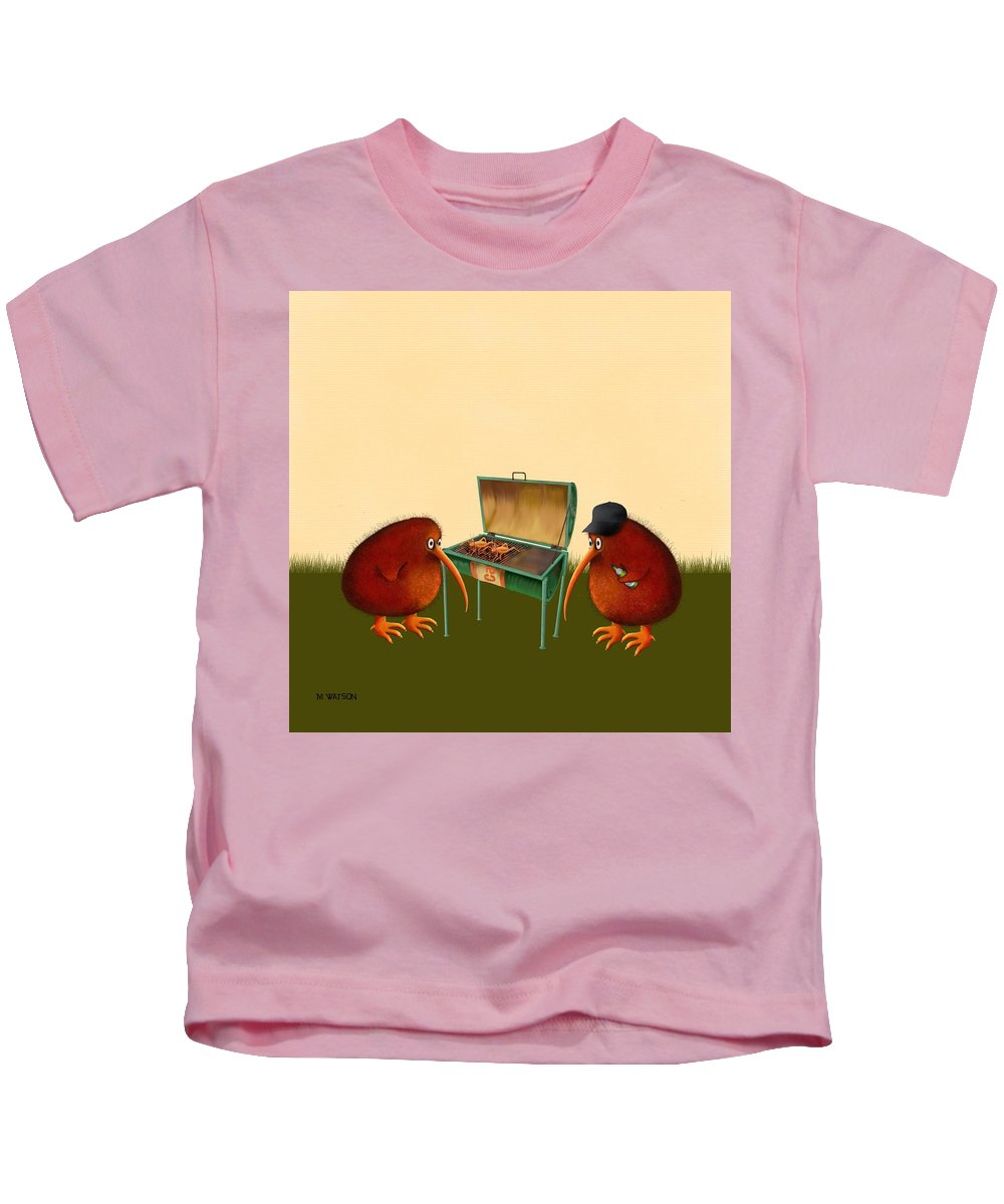 Barbeque Kids T-Shirt featuring the digital art Kev And Trev by Marlene Watson