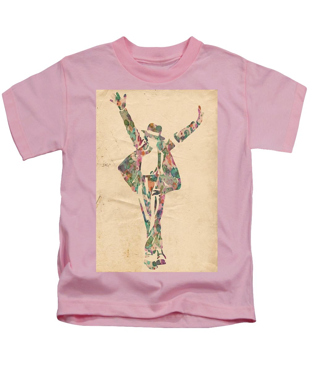 Michael Jackson Kids T-Shirt featuring the painting King Of Pop In Concert No 11 by Florian Rodarte