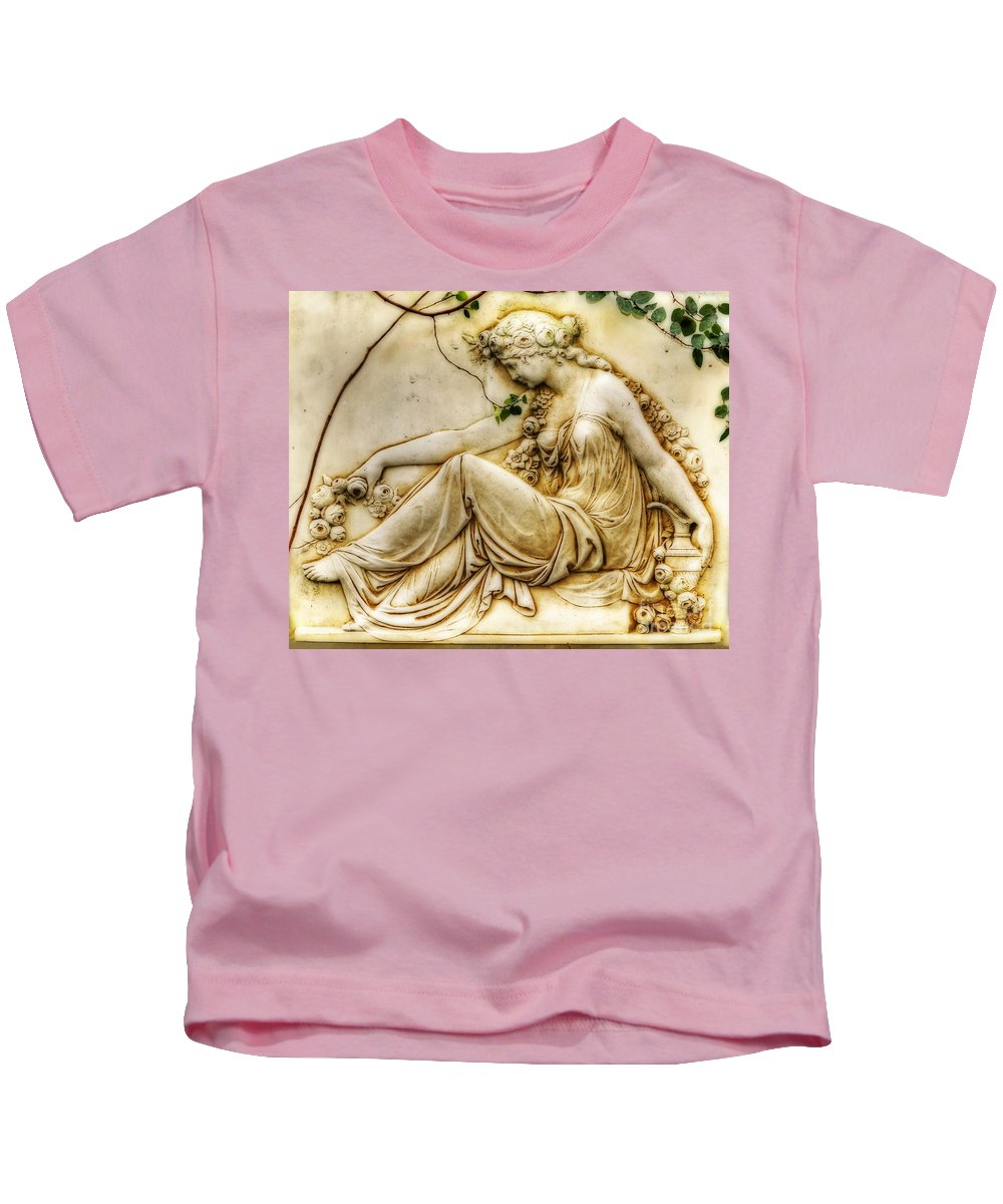Photography Kids T-Shirt featuring the photograph Lady In Robe And Roses by Kaye Menner