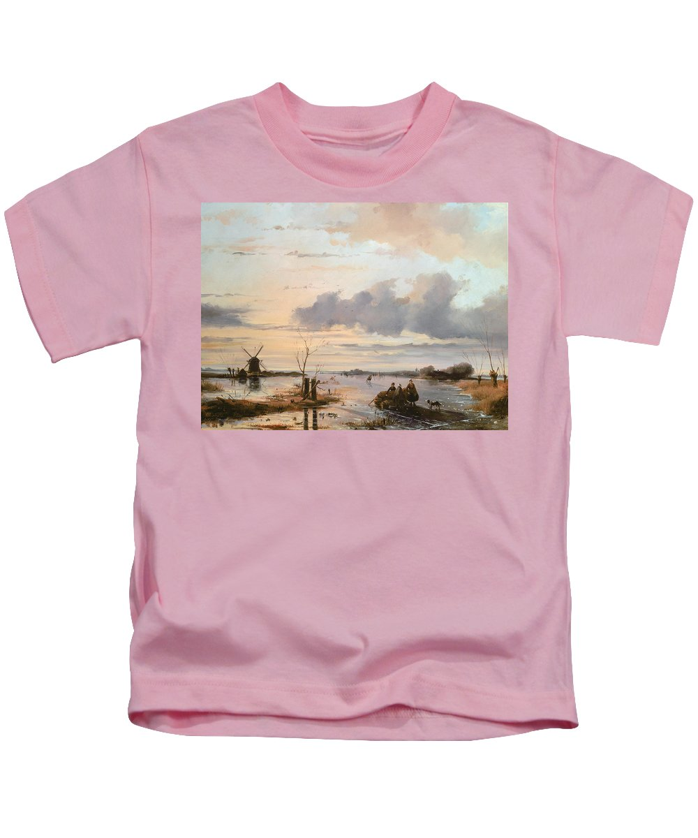 Windmill Kids T-Shirt featuring the painting Late Winter In Holland by Nicholas Jan Roosenboom